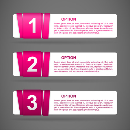 pink paper option labels with number of option on ribbon Vector