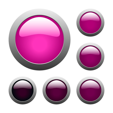 set of vector pink rounded glass buttons Vector