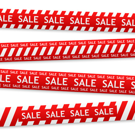 red bent sticker with white sale sign Vector