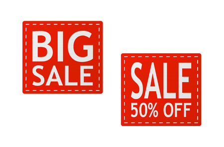 set of red sale signs on piece of textile Vector