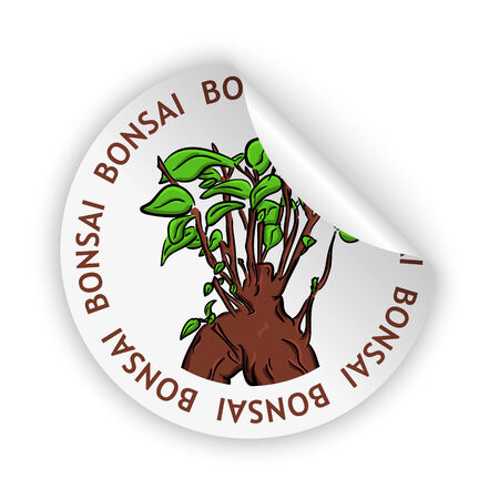 white bent sticker with picture of bonsai Vector