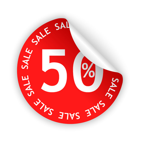 red bent 50% sticker with white sale sign Vector