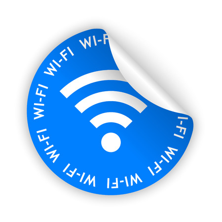 blue bent sticker with white wifi sign Vector