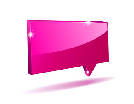 3D pink angular comics bubble with light shadow Vector