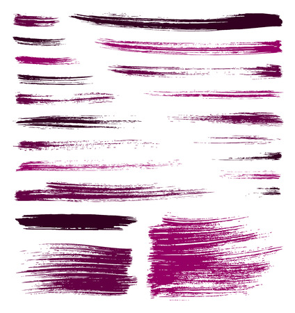 set of pink quality handmade brush strokes Vector