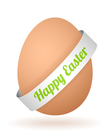 cartoon egg with face and silver ribbon Vector