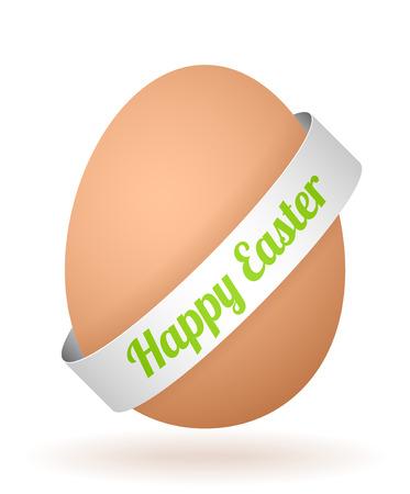 cartoon egg: cartoon egg with face and silver ribbon Illustration
