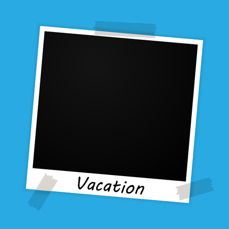 photo frame with vacation sign on blue background Vector