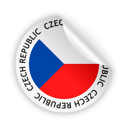 White bent sticker with flag of the czech republic vector