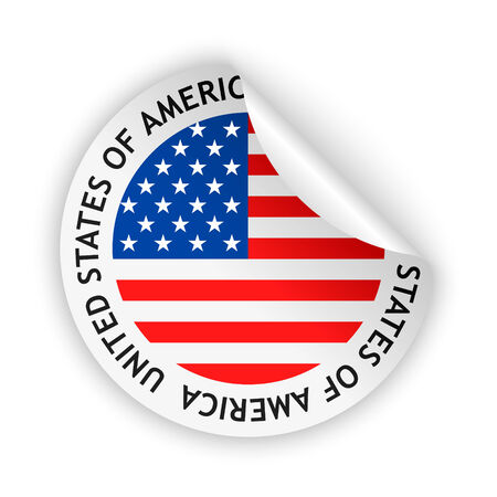 vector white bent sticker with flag of the united states of america Vector