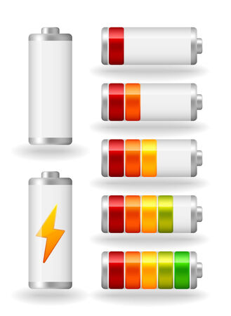 fullness: seven glossy battery fullness indicator with light shadow