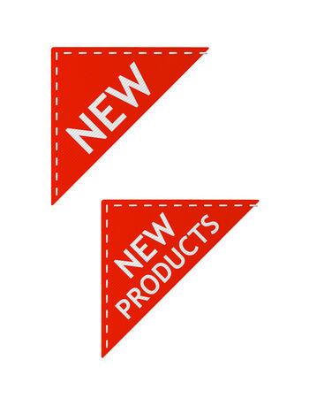 set van rode nieuwe borden op stuk textiel