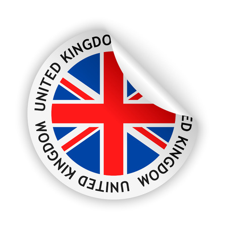 vector white bent sticker with flag of the united kingdom of great britain and northern ireland Vector