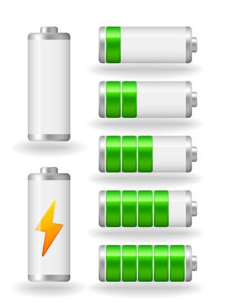fullness: vector seven glossy battery fullness indicator with light shadow Illustration