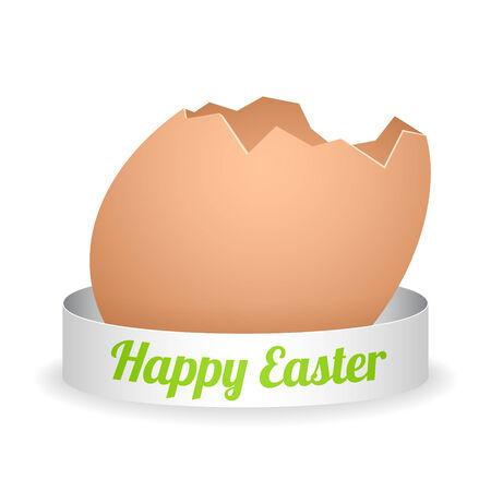 uovo rotto: uovo vettore cartone animato rotto con nastro d'argento e segno verde