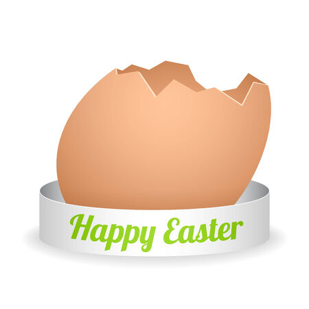 vector cartoon broken egg with silver ribbon and green sign Vector
