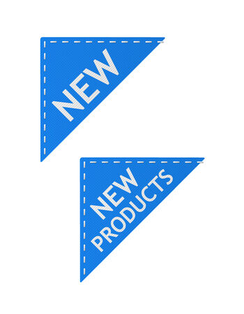 set of vector blue new signs on piece of textile Vector
