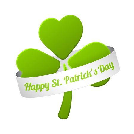 vector green shamrock with happy st. patrickss day sign on the white ribbon Vector