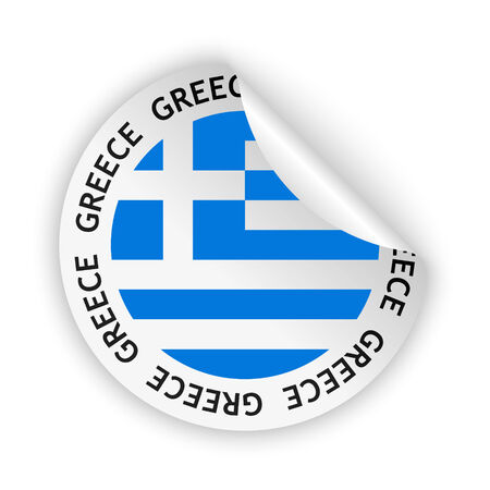 vector white bent sticker with flag of the greece Stock Illustratie