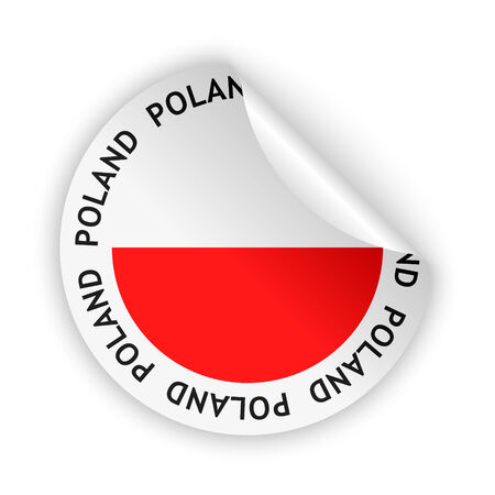 vector white bent sticker with flag of the poland Vector