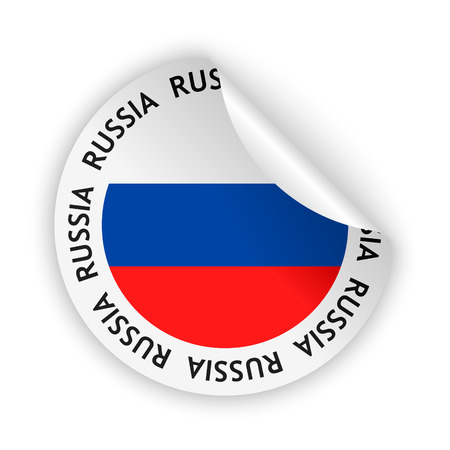 vector white bent sticker with flag of the russia Vector