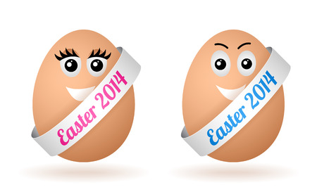 vector cartoon egg with face and silver ribbon Vector