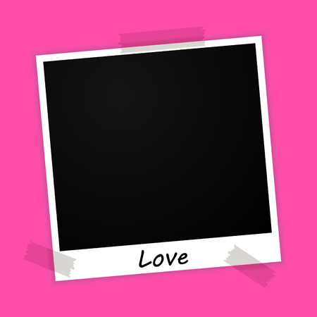 vector photo frame with vacation sign on pink background Illustration