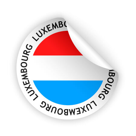 vector white bent sticker with flag of the luxembourg Vector
