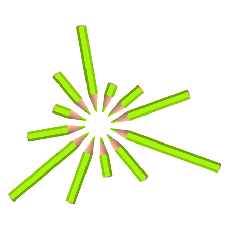 set of vector green crayons placed in circle on white background Vector