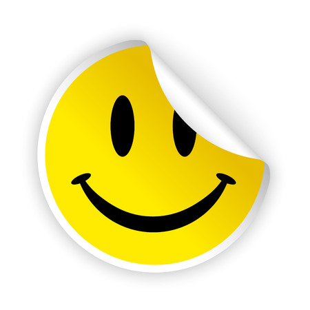 vector white bent sticker with smiling face