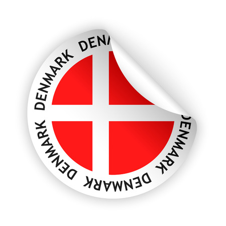 vector white bent sticker with flag of the denmark Vector