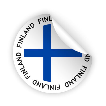 vector white bent sticker with flag of the finland Vector
