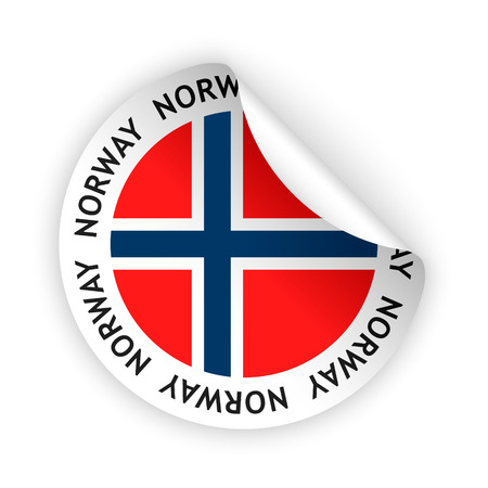 vector white bent sticker with flag of the norway Vector