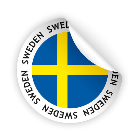vector white bent sticker with flag of the sweden Vector