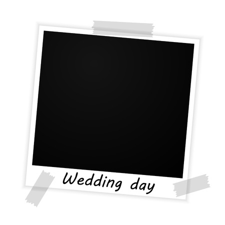 vector photo frame with wedding day sign on white background Vector