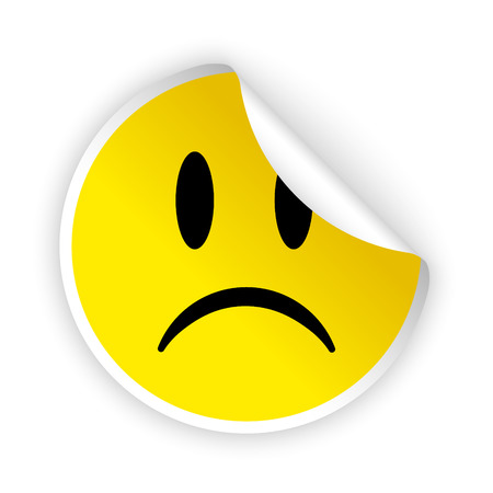 sorrowful: vector white bent sticker with sad face