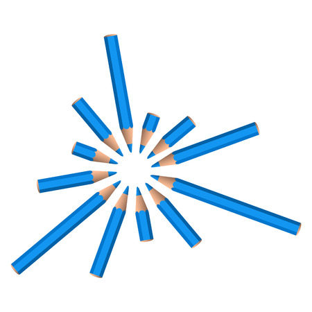 set of vector blue crayons placed in circle on white background Vector