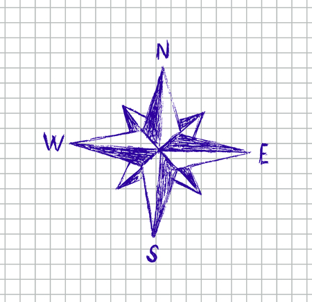 vector hand drawn illustration of star on the squared school notebook Vector