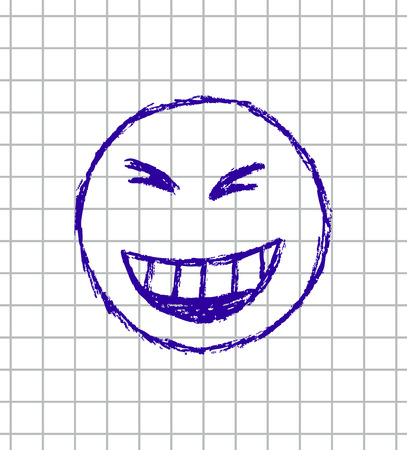 vector hand drawn illustration of emoticon on the squared school notebook Vector