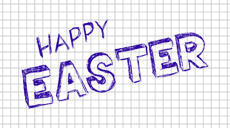 vector hand drawn illustration of happy easter on the squared school notebook Vector