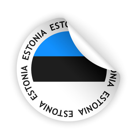 vector white bent sticker with flag of the estonia Vector