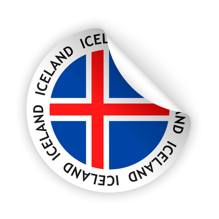 vector white bent sticker with flag of the iceland Vector