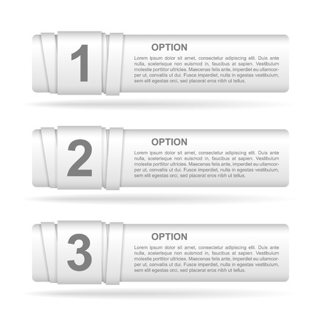 vector white paper option labels with number of option on ribbon Vector