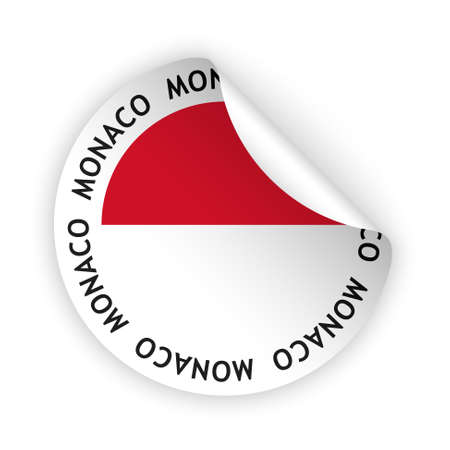 vector white bent sticker with flag of the monaco Vector