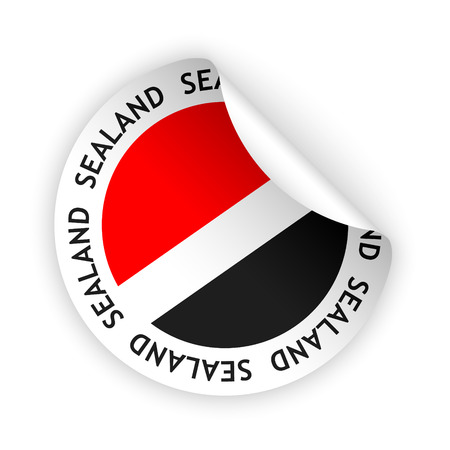 sealand: vector white bent sticker with flag of the sealand Illustration