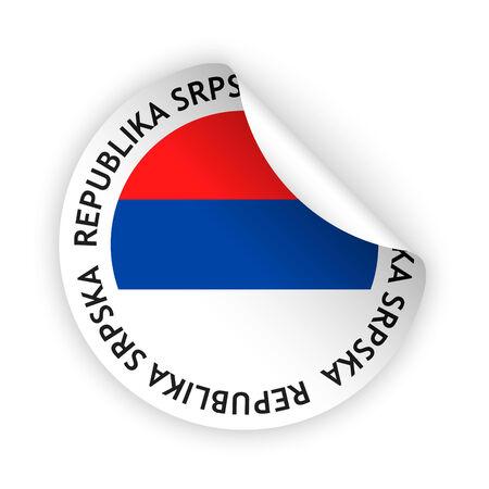 republika: vector white bent sticker with flag of the republika srpska Illustration