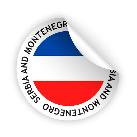 serbia and montenegro: vector white bent sticker with flag of the serbia and montenegro Illustration
