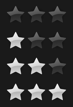 set of rating stars on the dark background Illustration