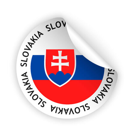 white bent sticker with flag of the slovakia