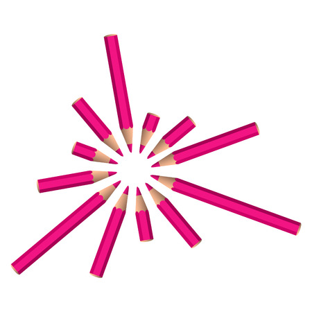 set of pink crayons placed in circle on white background Vector